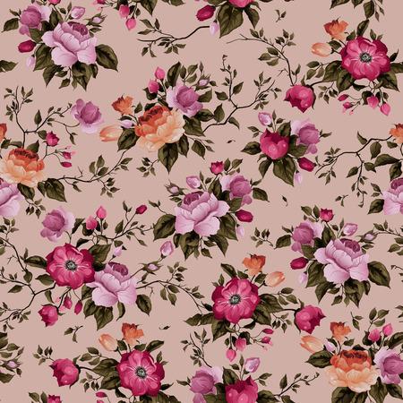 Nahtlose Blumenmuster mit Rosen auf hellem Hintergrund, Aquarell Standard-Bild - 28215322