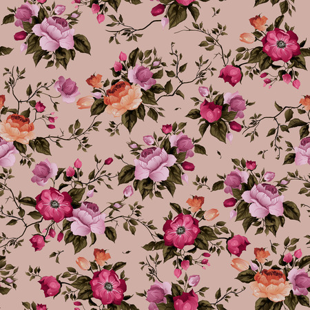 Seamless floral pattern with roses on light background, watercolor