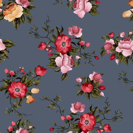 暗い背景の水彩画にバラでシームレス花柄  イラスト・ベクター素材