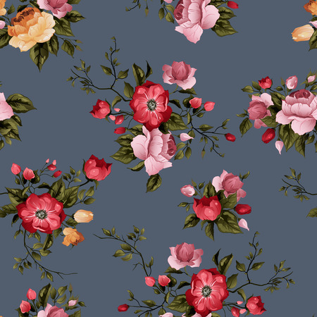 Seamless floral pattern with  roses on dark background, watercolor Banco de Imagens - 28215326