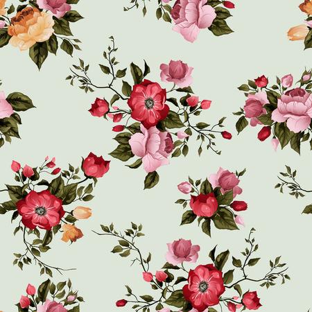 Naadloos bloemenpatroon met rozen op lichte achtergrond, aquarel Stock Illustratie