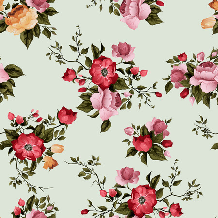 summer flowers: Seamless floral pattern with  roses on light background, watercolor