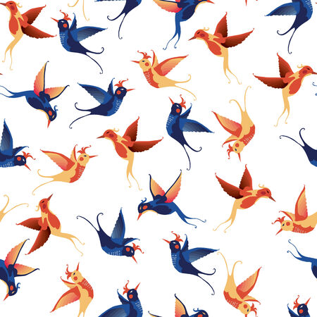 Birds seamless pattern  Vector texture on white background  Vector