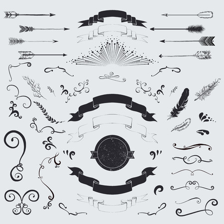 Decorative elements set  arrows, laurel, feathers, ribbons and labels  Vector