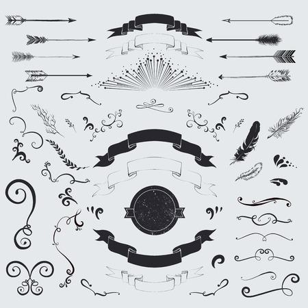 decorative: Decorative elements set  arrows, laurel, feathers, ribbons and labels