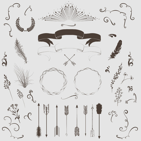 Decorative elements set  arrows, laurel, wreath, feathers, ribbons and labels  Vector