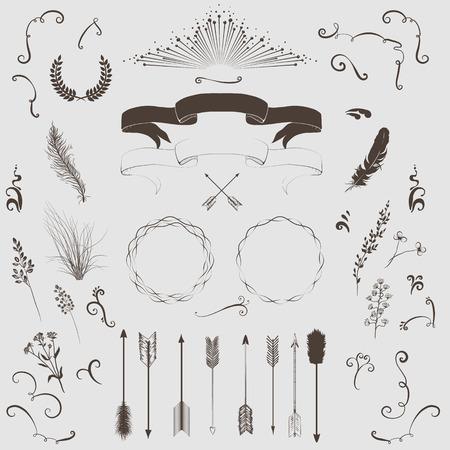 the decorative: Decorative elements set  arrows, laurel, wreath, feathers, ribbons and labels