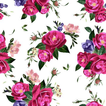 バラとフリージアのベクトルの背景で抽象的なシームレスな花柄