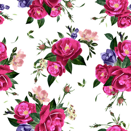 freesia: Abstract seamless floral pattern with   roses and freesia  Vector background