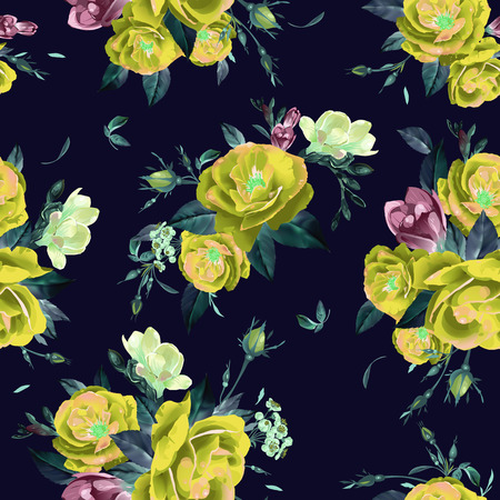 Abstract seamless floral pattern with  roses and freesia  Vector background