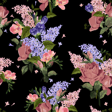 バラと黒の背景ベクトル イラスト ライラックでシームレスな花柄