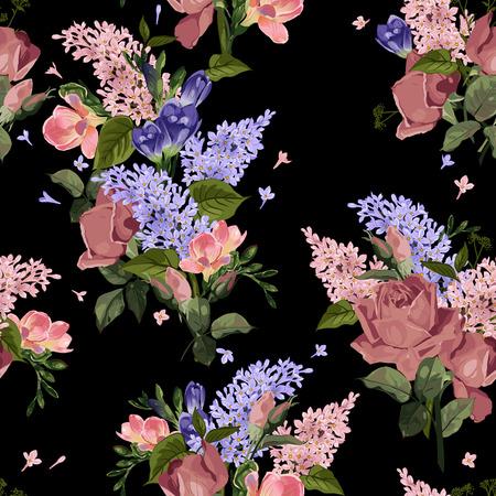Naadloos bloemenpatroon met rozen en sering op zwarte achtergrond Vectorillustratie