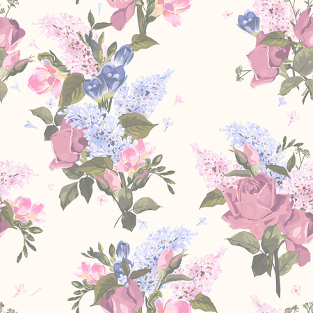 Seamless floral pattern with roses and lilac on light background  Vector illustration