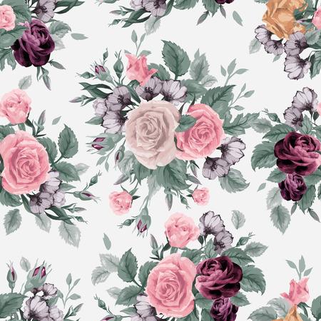 明るい背景、水彩画にバラでシームレスな花柄  イラスト・ベクター素材