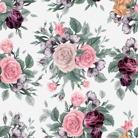 rose stem: Seamless floral pattern with  roses on light background, watercolor