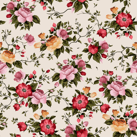 rose: Seamless floral pattern with roses on light background, watercolor