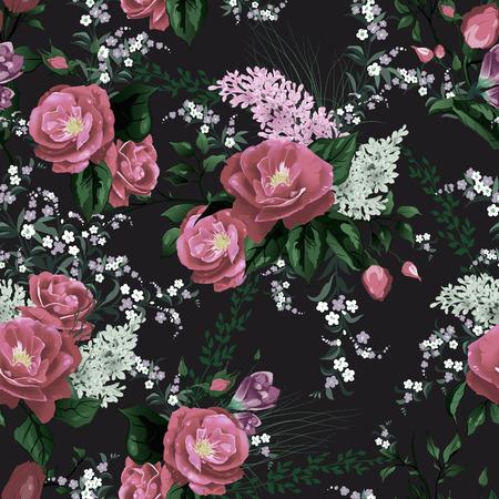 검은 배경 벡터 일러스트 레이 션 장미와 라일락 완벽 한 꽃 패턴