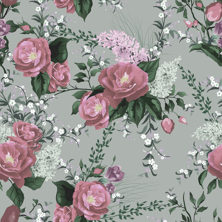 purple rose: Seamless floral pattern with roses and lilac on light background  Vector illustration