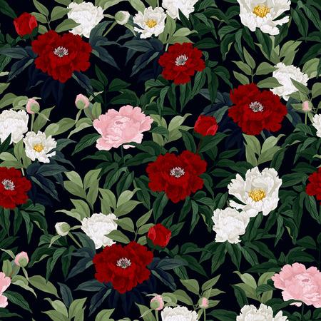 rosas negras: Sin fisuras patrón floral con rosas rojas, rosadas y blancas sobre fondo negro Ilustración vectorial Vectores