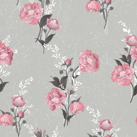 シームレスな花柄水彩ベクトル イラスト明るい背景にピンクのバラで  イラスト・ベクター素材