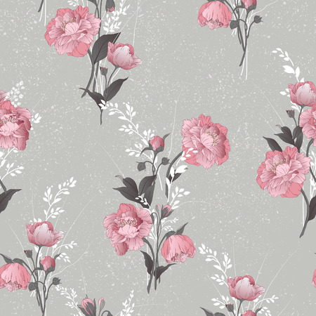 Seamless floral pattern with pink roses on light background, watercolor  Vector illustration