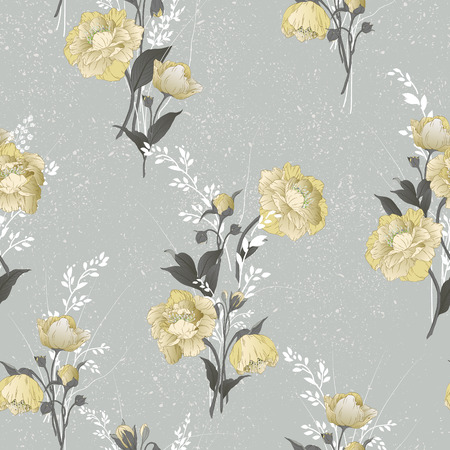yellow roses: Seamless floral pattern with yellow roses on light background, watercolor  Vector illustration