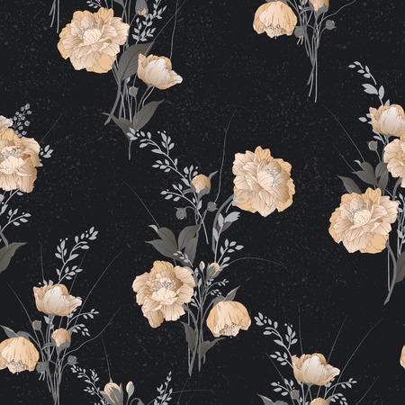 水彩ベクトル イラスト黒背景に黄色のバラでシームレス花柄