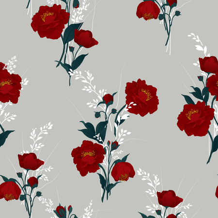 accent: Seamless floral pattern with red roses on light background, watercolor  Vector illustration