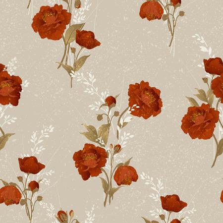 Naadloos bloemenpatroon met rode rozen op lichte achtergrond, aquarel Vector illustratie