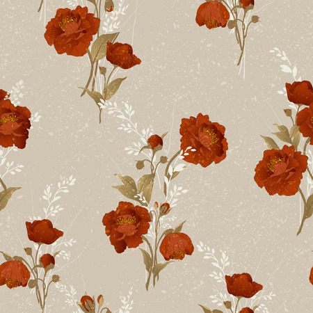 Seamless floral pattern with red roses on light background, watercolor  Vector illustration