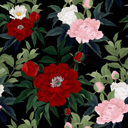Seamless floral pattern with red, pink and white roses on black background  Vector illustration  Vector