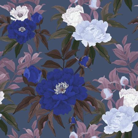 rosa negra: Sin fisuras patrón floral con rosas azules y blancas sobre fondo oscuro Ilustración vectorial