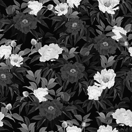Seamless floral pattern with roses on black background  Vector illustration
