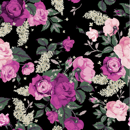 Seamless floral pattern with pink roses on black background, watercolor  Vector illustration  向量圖像