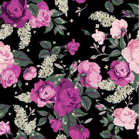 flower arrangement: Seamless floral pattern with pink roses on black background, watercolor  Vector illustration  Illustration