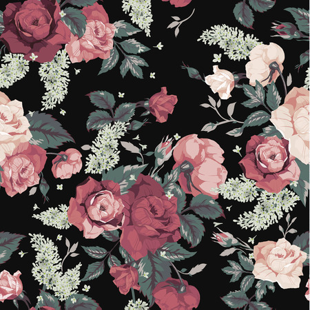 Seamless floral pattern with pink roses on black background, watercolor  Vector illustration  Vectores