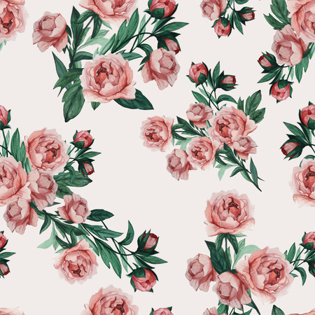 Seamless pattern with pink roses, watercolor  版權商用圖片