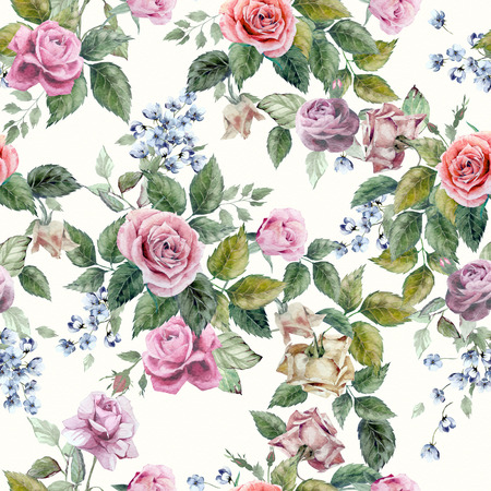 floral abstract: Seamless floral pattern with  red, purple and pink roses on light background, watercolor  Stock Photo