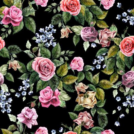 Naadloos bloemenpatroon met rode, paarse en roze rozen op zwarte achtergrond, aquarel