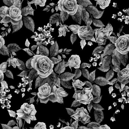 Naadloze bloemen zwart-wit patroon met rozen op zwarte achtergrond, aquarel