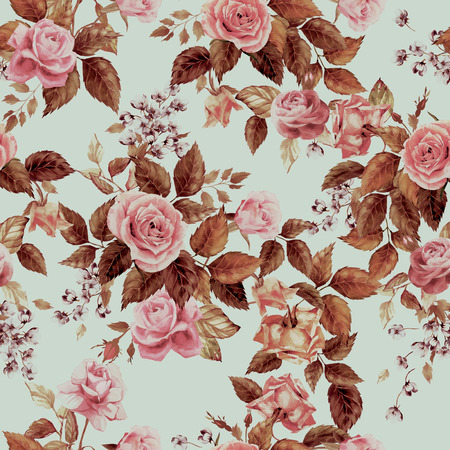 Seamless floral pattern with roses on light background, watercolor 版權商用圖片