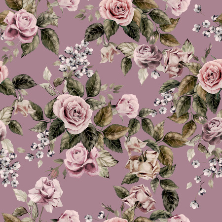 flower arrangement: Seamless floral pattern with roses on purple background, watercolor Stock Photo