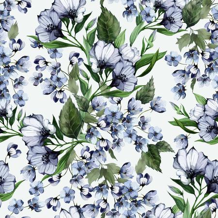 水彩画光の背景のトルコギキョウとシームレス花柄