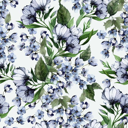 Modelo floral inconsútil con eustoma sobre fondo claro, acuarela Foto de archivo - 28216228