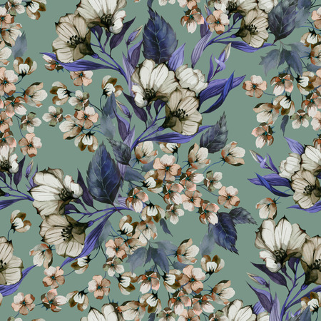 Seamless floral pattern with eustoma on light background, watercolor