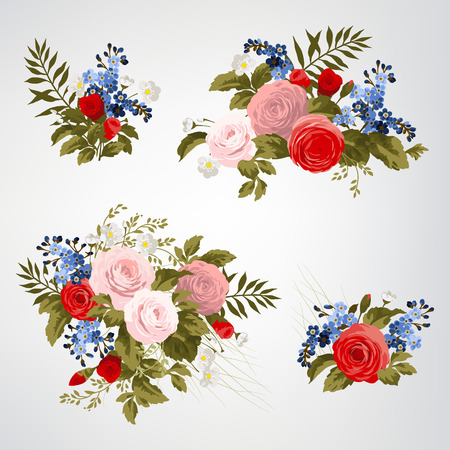 rose garden: Set of bouquets of roses