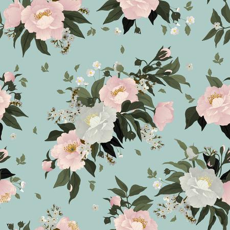 밝은 배경에 장미와 모란과 완벽 한 꽃 패턴 일러스트