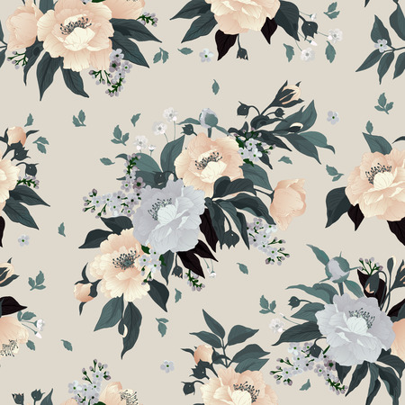 Seamless floral pattern with roses and peony on light background