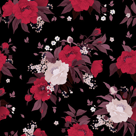 Seamless floral pattern with roses and peony on black background
