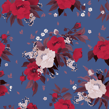 Seamless floral pattern with roses and peony on color background